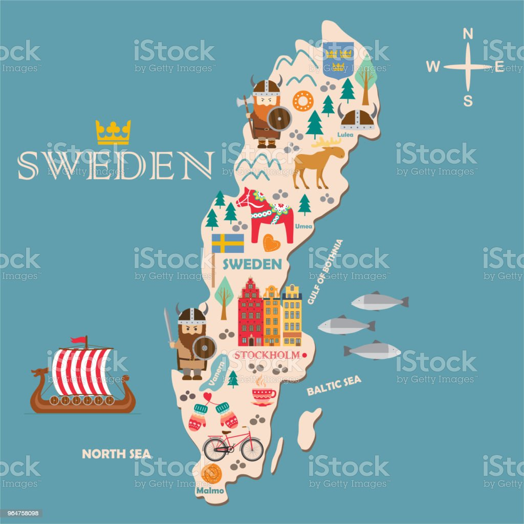 Sweden symbols map with tourist attractions royalty-free sweden symbols map with tourist attractions stock vector art & more images of belarus