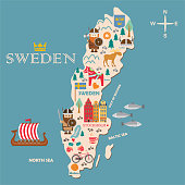 Sweden symbols map with tourist attractions
