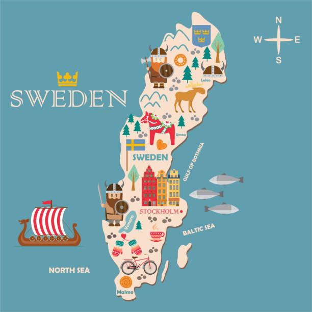 illustrations, cliparts, dessins animés et icônes de carte de symboles de suède avec attractions touristiques - suede