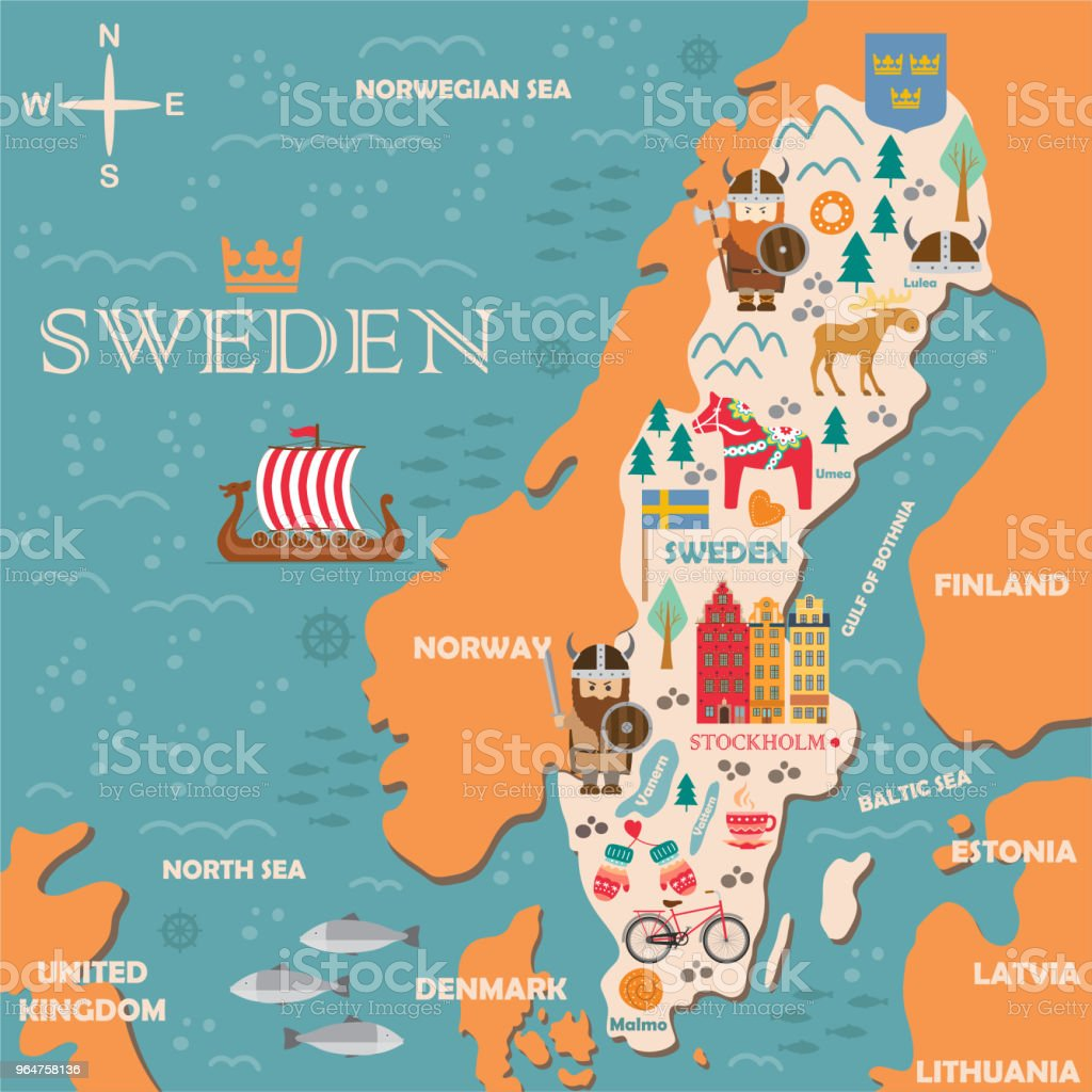 Sweden Symbols Map With Tourist Attractions Stock Vector Art More