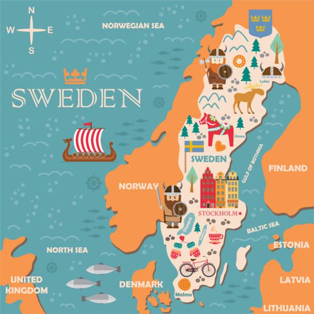 bildbanksillustrationer, clip art samt tecknat material och ikoner med sverige symboler karta med turistattraktioner - älg sverige