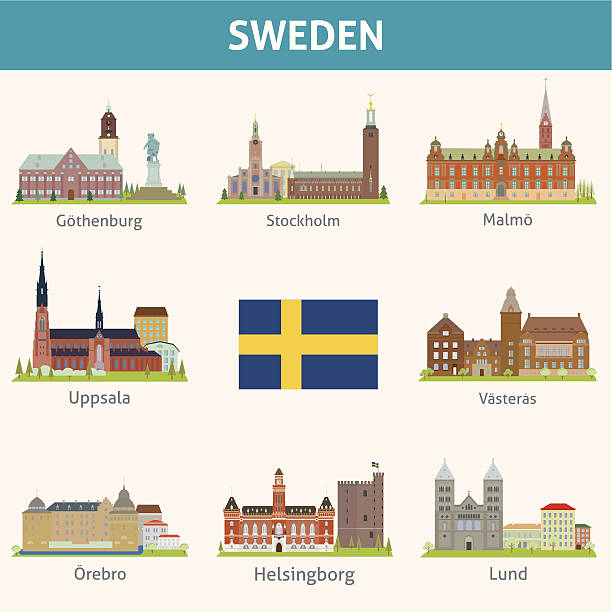 bildbanksillustrationer, clip art samt tecknat material och ikoner med sweden. symbols of cities - skyline stockholm