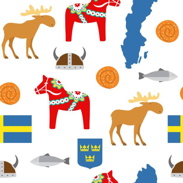 bildbanksillustrationer, clip art samt tecknat material och ikoner med sverige symboler sömlösa mönster - stockholm