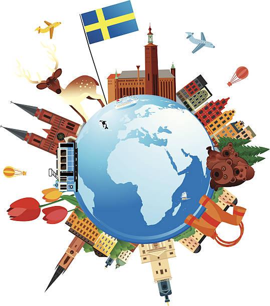 bildbanksillustrationer, clip art samt tecknat material och ikoner med sweden travel - gothenburg