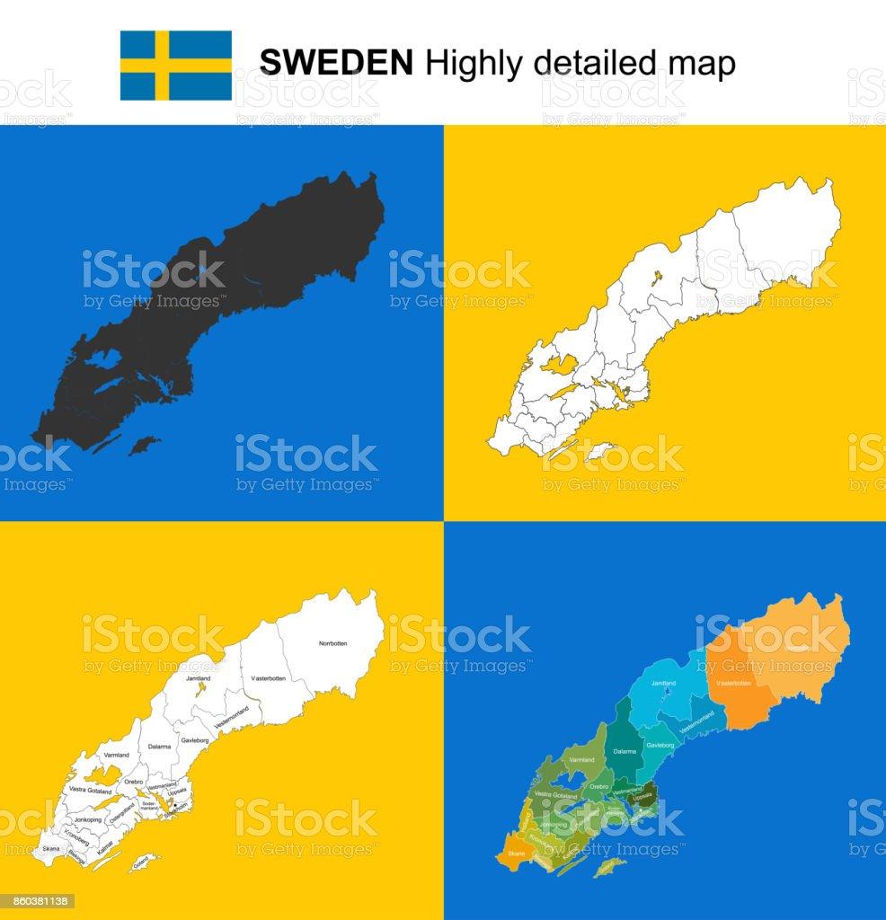 Karte Schweden Regionen.Schweden Sehr Detaillierte Politische Vektorkarte Mit