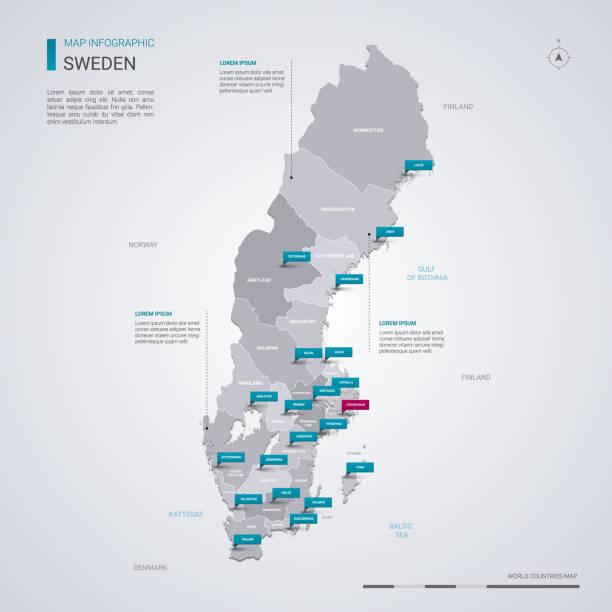 bildbanksillustrationer, clip art samt tecknat material och ikoner med sverige vektor karta med infographic element, pekare märken. - sweden map