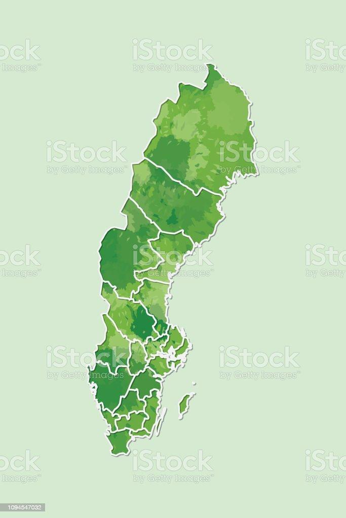 Schweden Karte Regionen.Schwedenaquarell Karte Vektorillustration Der Grunen Farbe