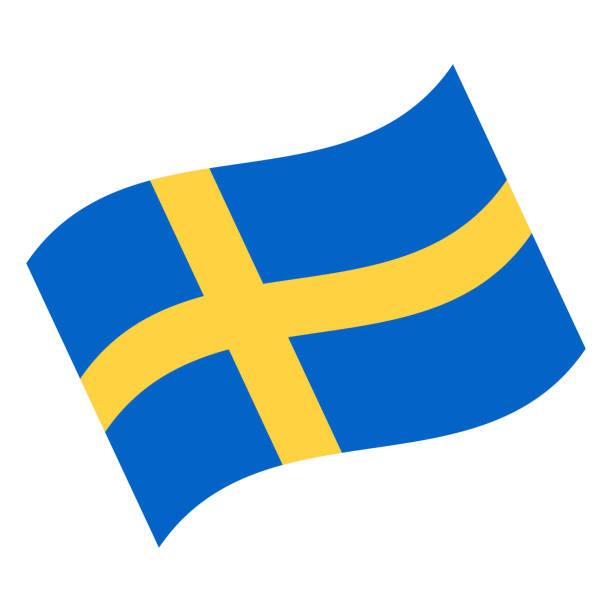 ilustraciones, imágenes clip art, dibujos animados e iconos de stock de suecia - agitando bandera vector icono plana - bandera sueca