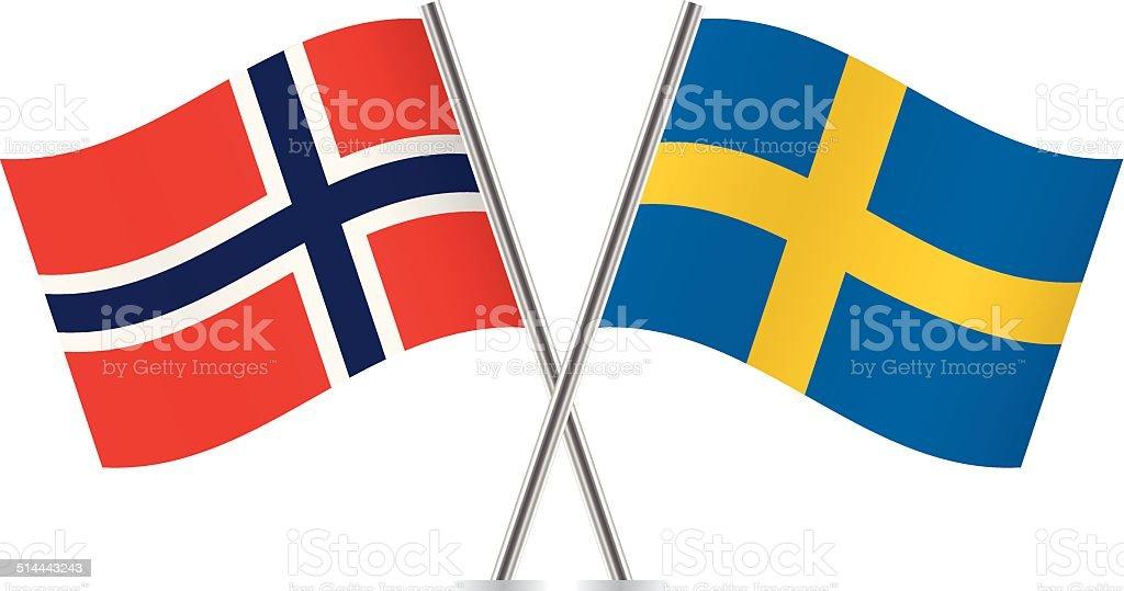 Bandera sueca y Noruega.  Vector. - ilustración de arte vectorial