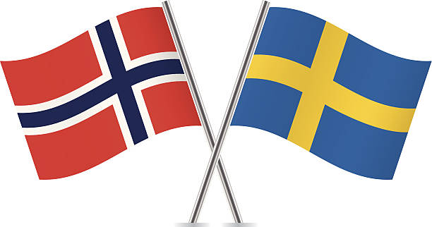 ilustraciones, imágenes clip art, dibujos animados e iconos de stock de bandera sueca y noruega.  vector. - bandera sueca