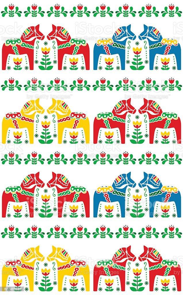 Swedish Dala or Daleclarian horse seamless folk art pattern vector art illustration