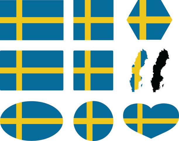 Swedish flag and map vector art illustration