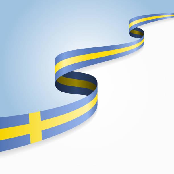 ilustraciones, imágenes clip art, dibujos animados e iconos de stock de bandera sueca fondo. ilustración vectorial - bandera sueca
