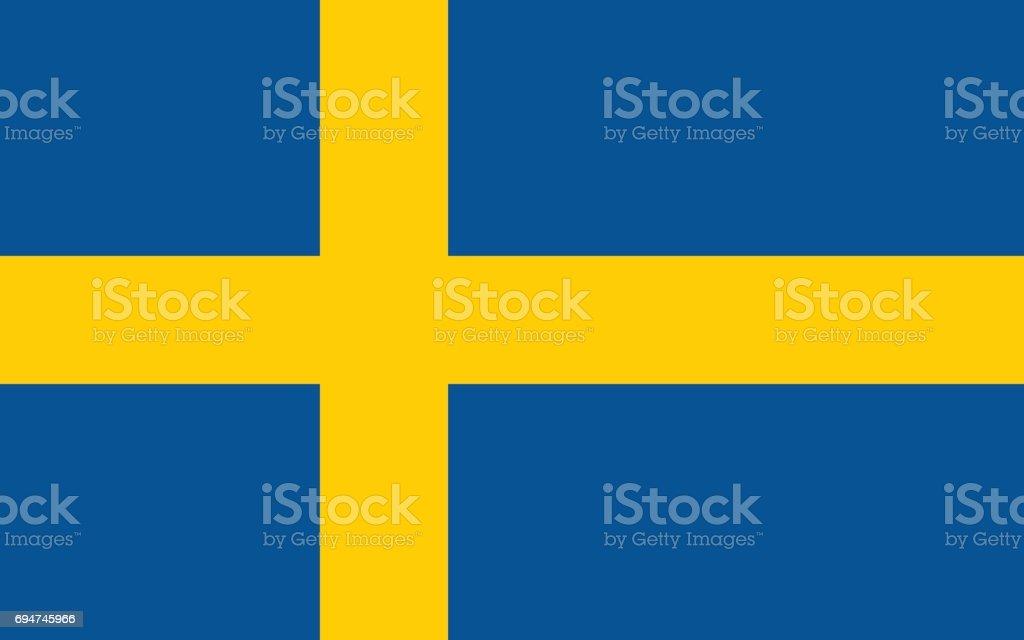Bandera sueca, diseño plano, vector ilustración - ilustración de arte vectorial