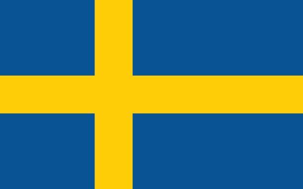 ilustraciones, imágenes clip art, dibujos animados e iconos de stock de bandera sueca, diseño plano, vector ilustración - bandera sueca
