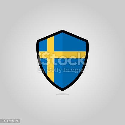 istock Swedish Flag Flat Vector Shield Badge 901745260