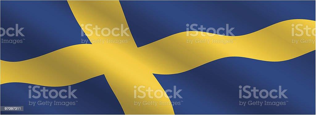 スウェーデンの国旗を風に飛ぶ ベクターアートイラスト