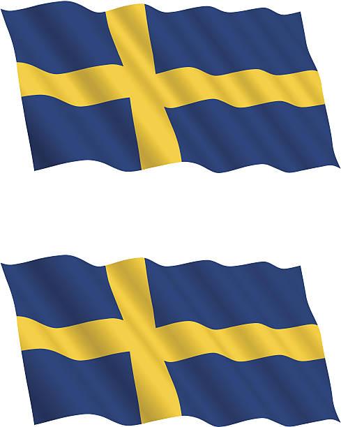 ilustraciones, imágenes clip art, dibujos animados e iconos de stock de bandera sueca ondeando en el viento - bandera sueca