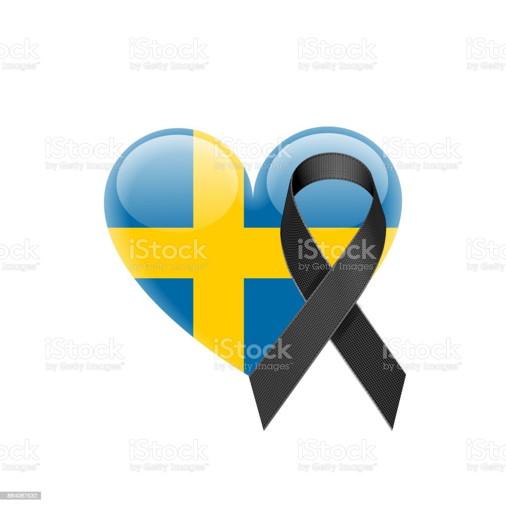 Swedish Flag Heart Icon with Black Ribbon royalty-free swedish flag heart icon with black ribbon stock vector art & more images of arts culture and entertainment
