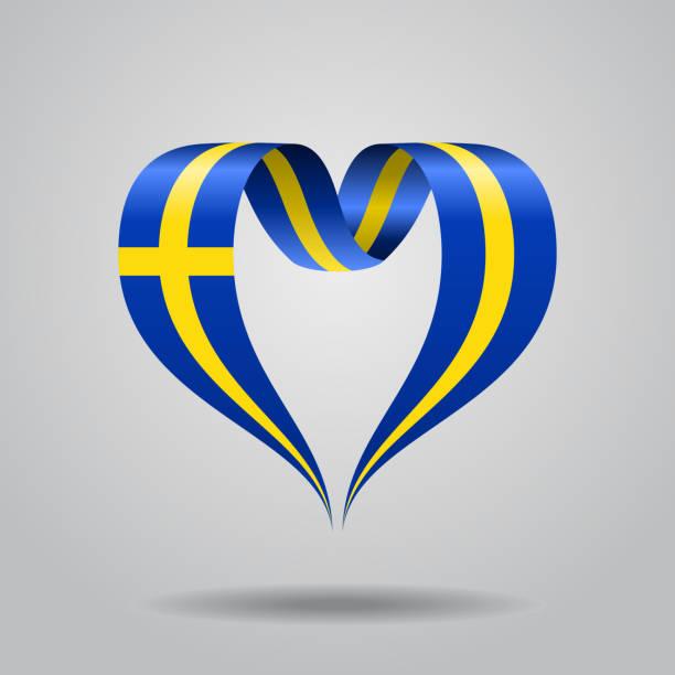 ilustraciones, imágenes clip art, dibujos animados e iconos de stock de sueco de la bandera de la cinta en forma de corazón. ilustración de vector. - bandera sueca