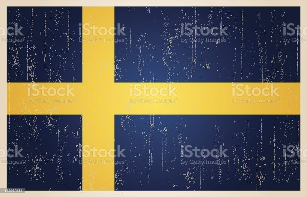 Swedish flag in grunge and vintage style. royalty-free stock vector art