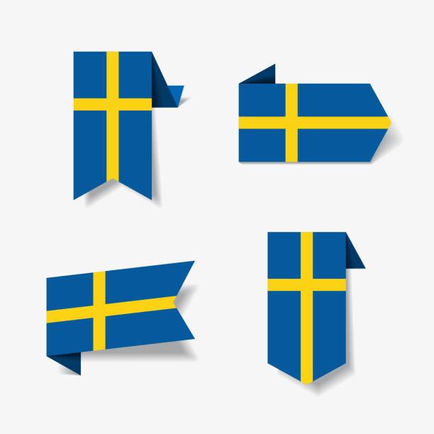 ilustraciones, imágenes clip art, dibujos animados e iconos de stock de etiquetas y pegatinas de la bandera sueca. ilustración de vector. - bandera sueca