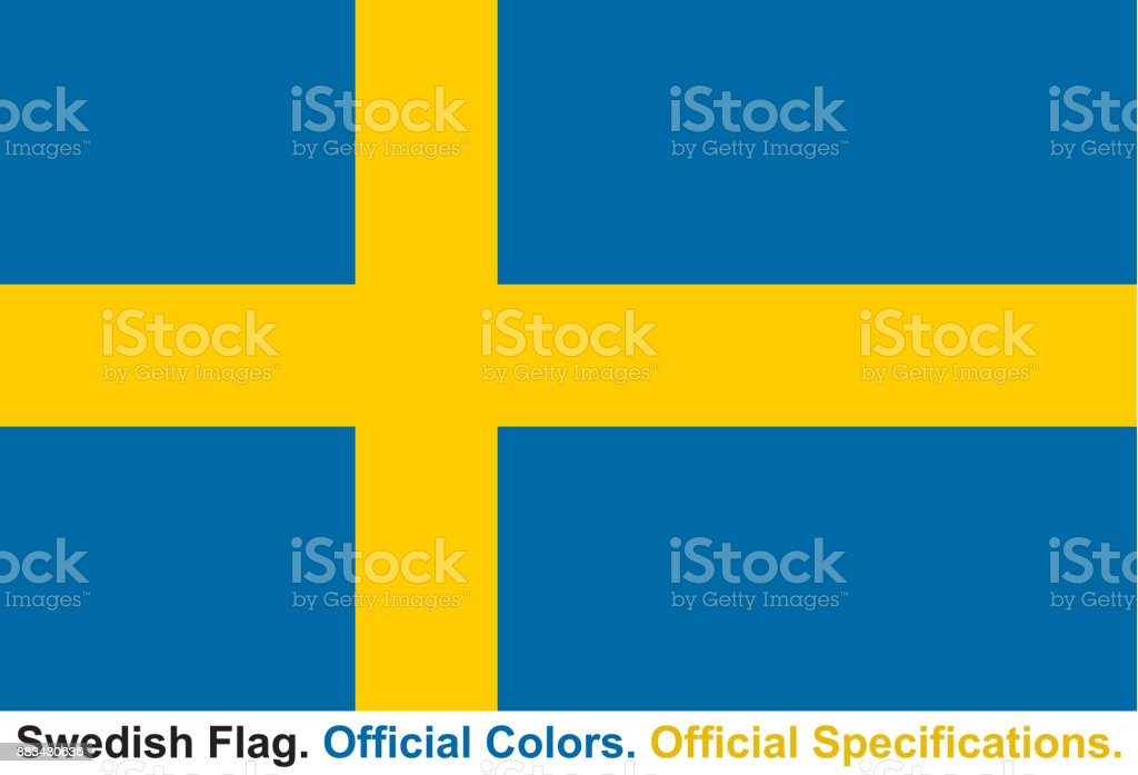 Swedish Flag (Official Colors, Official Specifications) vector art illustration