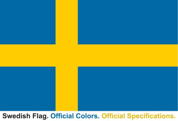 ilustraciones, imágenes clip art, dibujos animados e iconos de stock de bandera sueca (colores oficiales, especificaciones oficiales) - bandera sueca