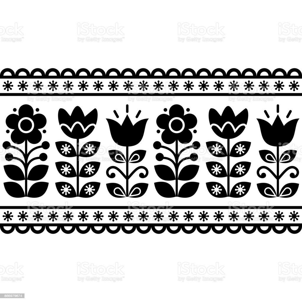 Ilustración de Floral Patrón Retro Sueco Diseño Del Vector Blanco Y ...