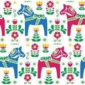 Swedish folk art Dala or Daleclarian horse seamless pattern