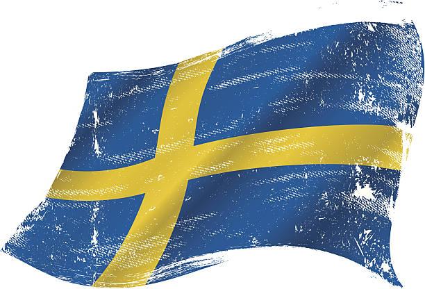 ilustraciones, imágenes clip art, dibujos animados e iconos de stock de grunge de bandera sueca - bandera sueca