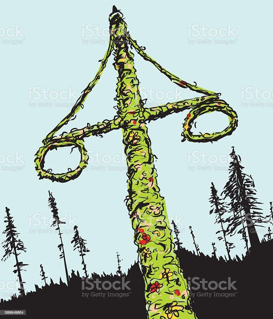 Swedish Midsummer Maypole and Forest - Royaltyfri Blomma vektorgrafik