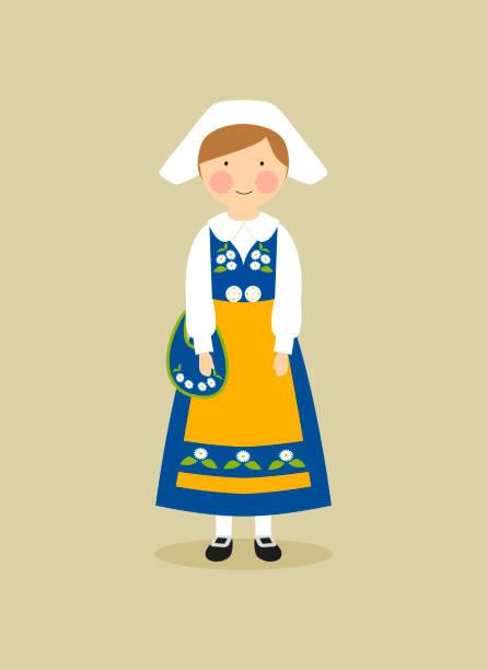 Swedish national costume for women vector art illustration