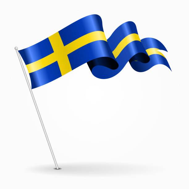 ilustraciones, imágenes clip art, dibujos animados e iconos de stock de sueco pin bandera ondulada. ilustración de vector. - bandera sueca