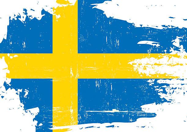 ilustraciones, imágenes clip art, dibujos animados e iconos de stock de bandera sueca rayada - bandera sueca