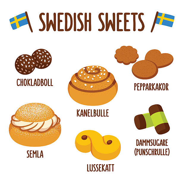 bildbanksillustrationer, clip art samt tecknat material och ikoner med swedish sweets set - söt bulle