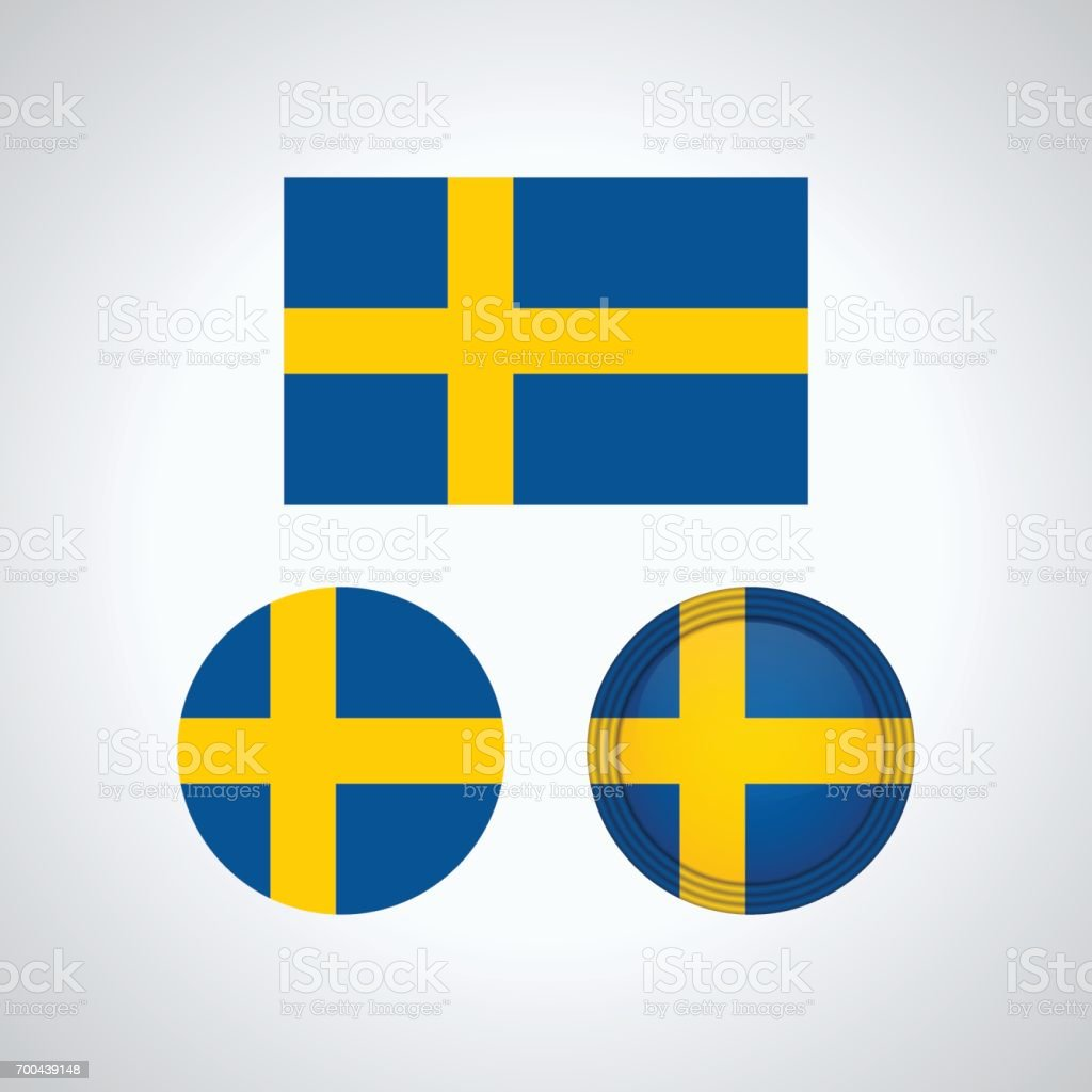 Swedish trio flags, vector illustration vector art illustration