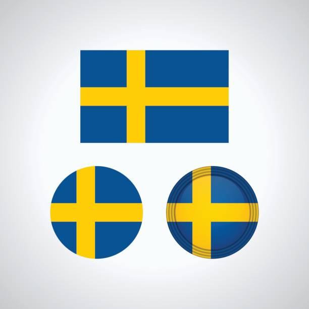 ilustraciones, imágenes clip art, dibujos animados e iconos de stock de banderas del trío sueco, ilustración vectorial - bandera sueca
