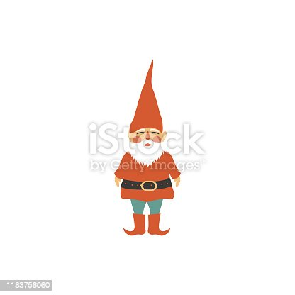 Swedish vector traditional symbol Tomtar elf isolated on white background, decorative travel icon flat style, Scandinavian folklore Tomte, nordic traditional Christmas motive for holiday design