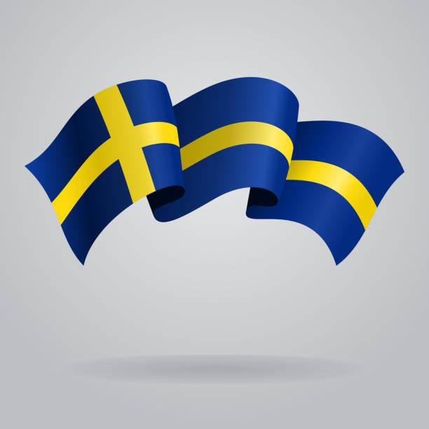 ilustraciones, imágenes clip art, dibujos animados e iconos de stock de agitando bandera sueca. ilustración vectorial - bandera sueca