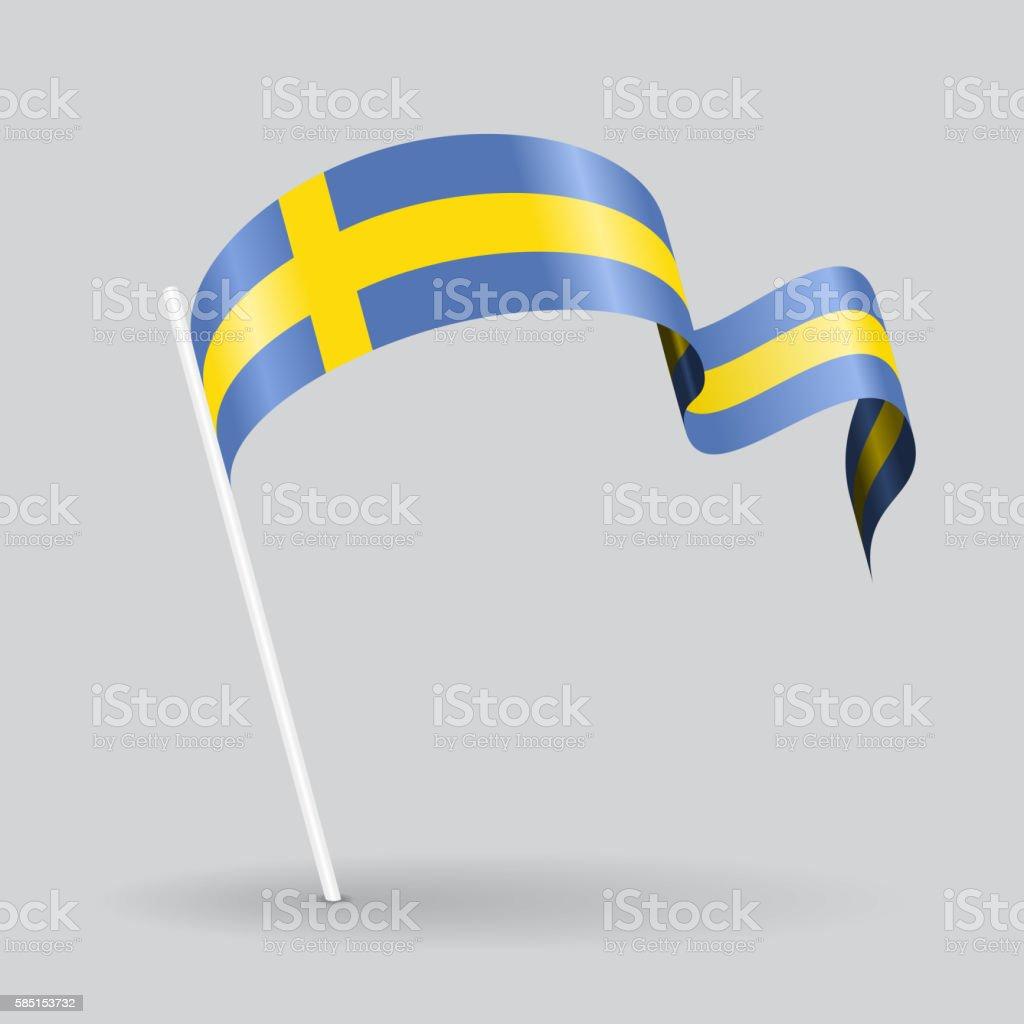 Swedish wavy flag. Vector illustration. - ilustración de arte vectorial