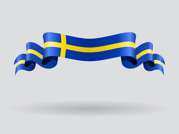 ilustraciones, imágenes clip art, dibujos animados e iconos de stock de wavy bandera sueca. ilustración de vectores. - bandera sueca