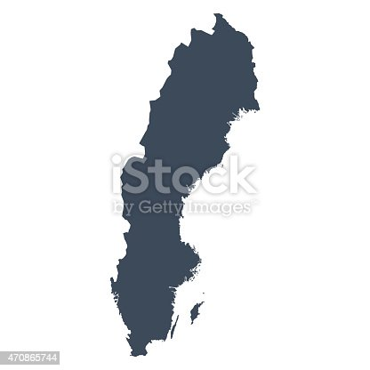 A graphic illustrated vector image showing the outline of the country Sweeden. The outline of the country is filled with a dark navy blue colour and is on a plain white background. The border of the country is a detailed path.