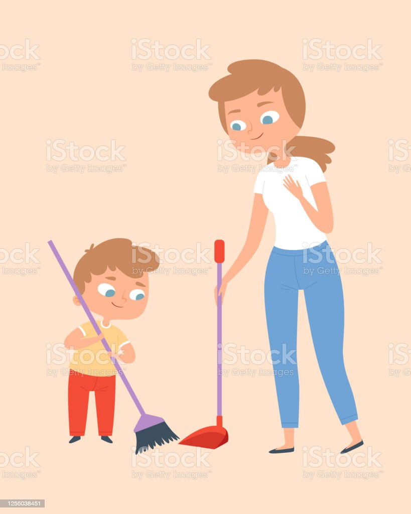 sweep the floor mother and son with broom family time cleaning home vector illustration stock illustration download image now istock sweep the floor mother and son with broom family time cleaning home vector illustration stock illustration download image now istock