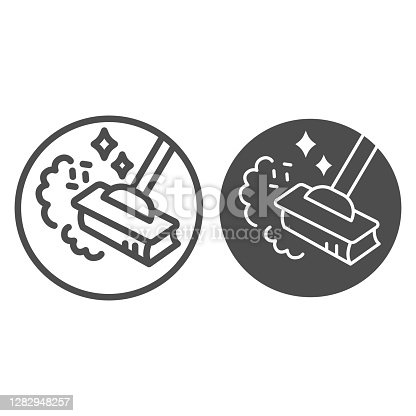 istock Sweeping dust with broom line and solid icon, housework concept, broom in dust clouds sign on white background, sweep floor icon in outline style for mobile concept, web design. Vector graphics. 1282948257