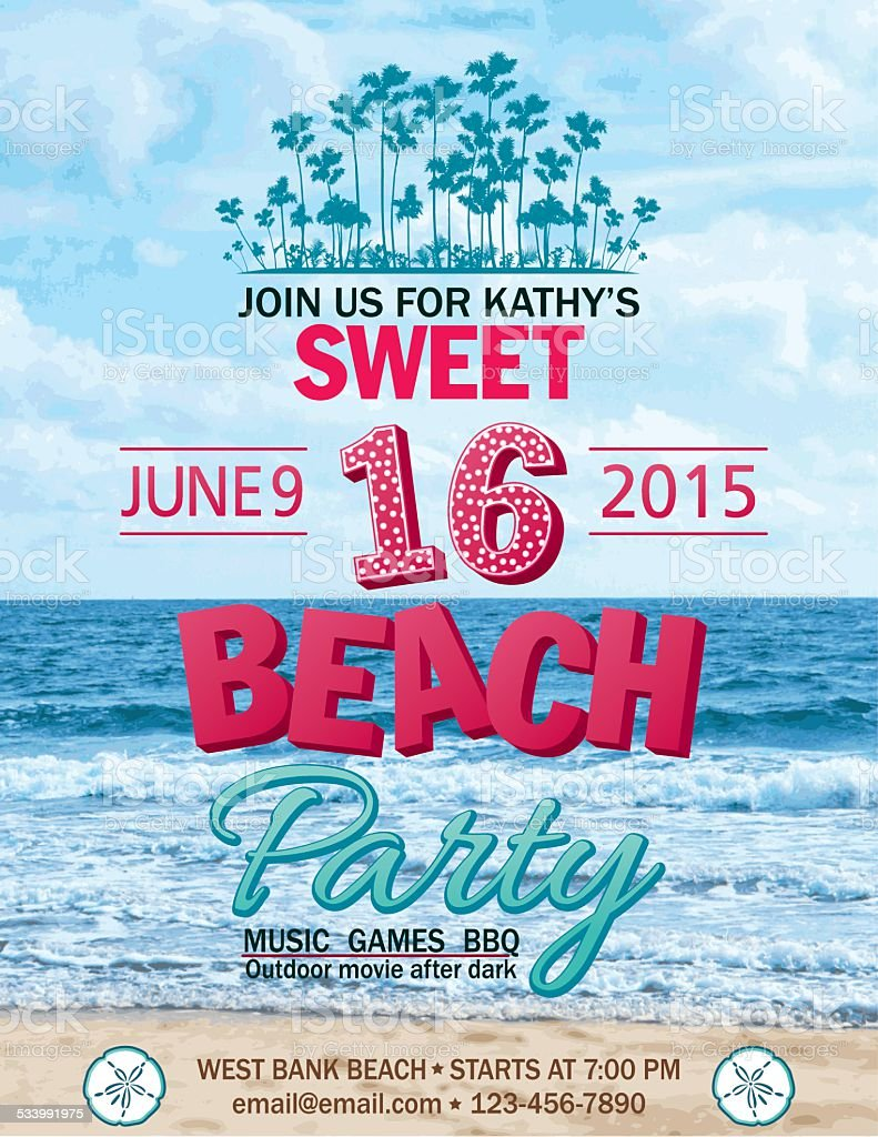 Sweet 16 Beach Party Invitation With Water Palm Trees vector art illustration