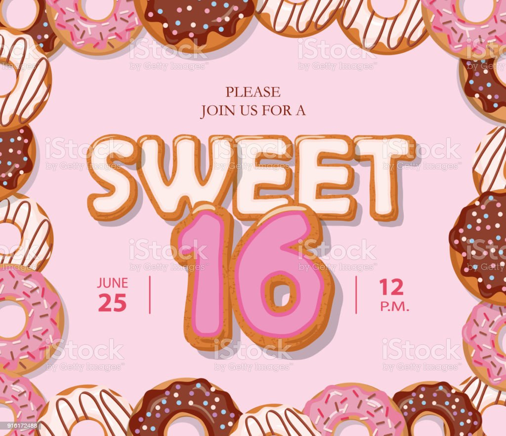 Sweet 16 Birthday Card Cute Cartoon Letters And Donut Frame Pastel ...