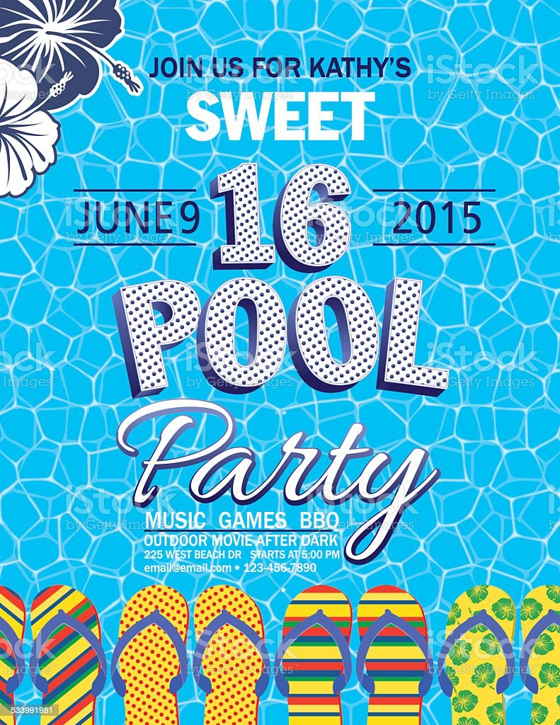 Sweet 16 Pool Party Invitation With Water Palm Trees Stock Vector ...