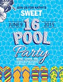 Sweet 16 Pool Party Invitation With one blue and one white hibiscus flower in top left corner on a blue background with white honey comb design pattern on top.  The text is blue and white with blue polka dots.  There are brightly multicolored flip-flops arranged horizontally across the bottom of the invitation.