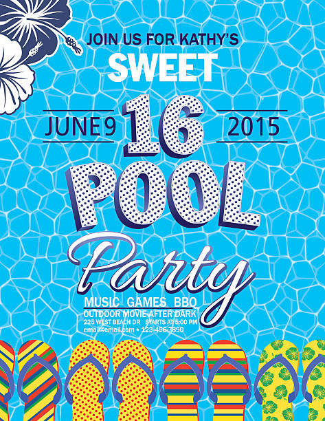 Sweet 16 Pool Party Invitation With Water Palm Trees Sweet 16 Pool Party Invitation With one blue and one white hibiscus flower in top left corner on a blue background with white honey comb design pattern on top.  The text is blue and white with blue polka dots.  There are brightly multicolored flip-flops arranged horizontally across the bottom of the invitation. pool party stock illustrations